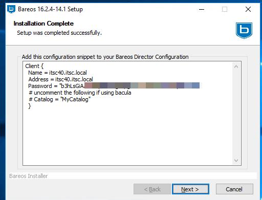 Die fertige Konfig-Datei für den Windows Client von Bareos