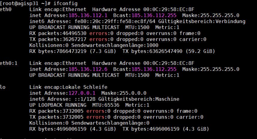 """Beispiel für """"ifconfig"""" unter Linux"""
