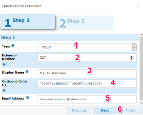 FreePBX: Quick create Extension (Schritt 1)