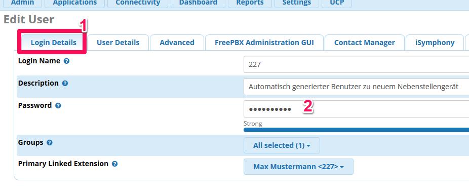 FreePBX: Passwort für Anwender eintragen