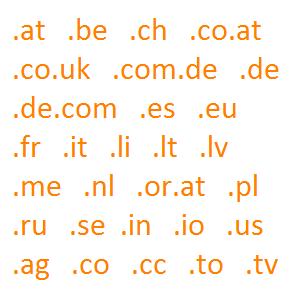 Domainendungen Beispiel