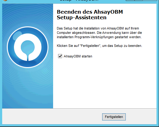 Nach der Installation der Online-Backup Software startet der Assistent