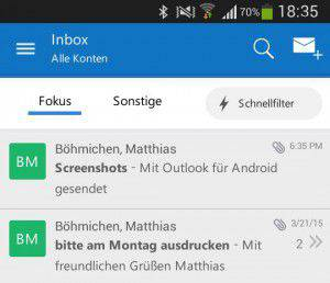 outlook f r android die mails immer dabei. Black Bedroom Furniture Sets. Home Design Ideas