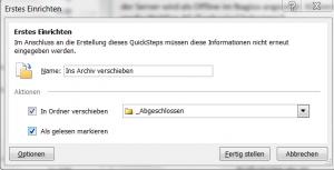 Outlook Quickstep einrichten