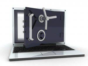Bild von sicherem Laptop, Datenschutz