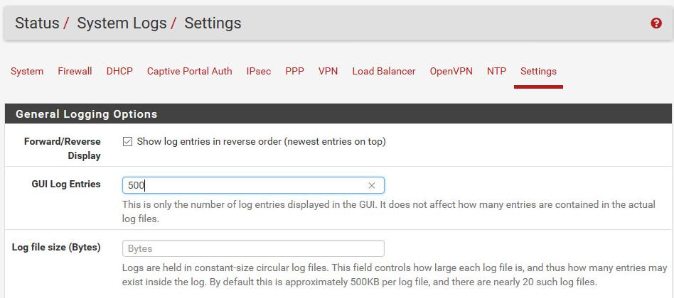 Einstellen der Protokollierung auf der pfsense Firewall