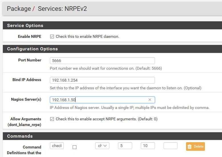 Das NRPE Plugin auf der pfsense richtig konfigurieren