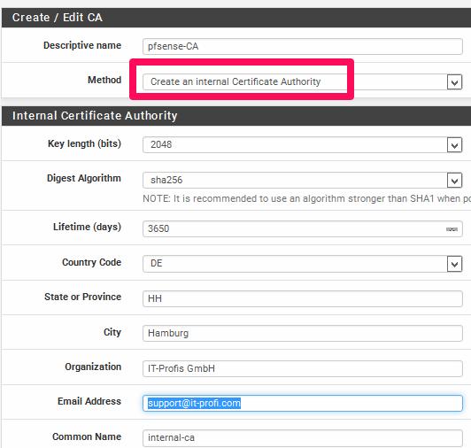 SSL Zertifikat mit der pfsense erstellen