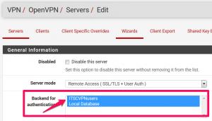 Authentifizierungs-Backend für OpenVPN in der pfsense Firewall ändern