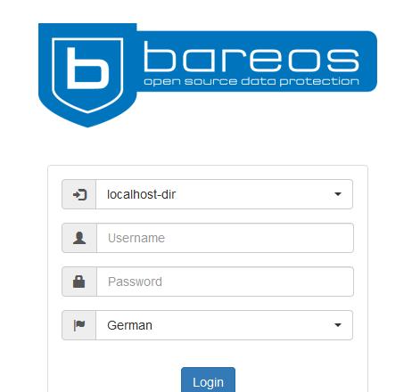 Die Anmeldemaske von Bareos