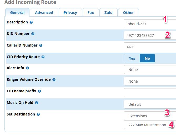 Die Inbound-Route für das Yealink Telefon