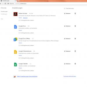 Eine Liste von installierten Erweiterungen bei dem Browser Google Chrome.