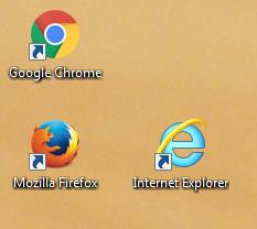 Desktop-Icons der beliebtesten Browser.