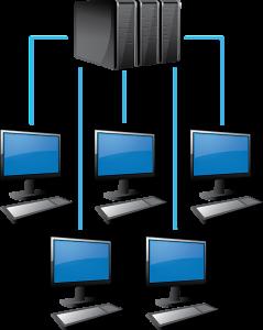 Bild von Computern, die über Netzwerk verbunden sind
