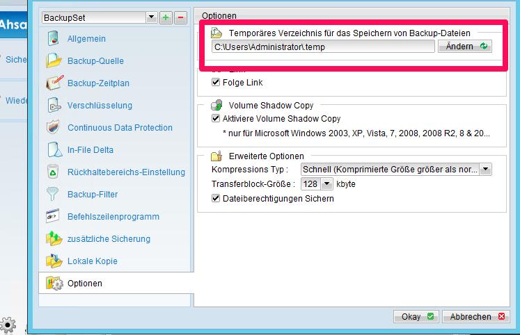 Vielfältige Optionen zur Einstellung der Backup-Software