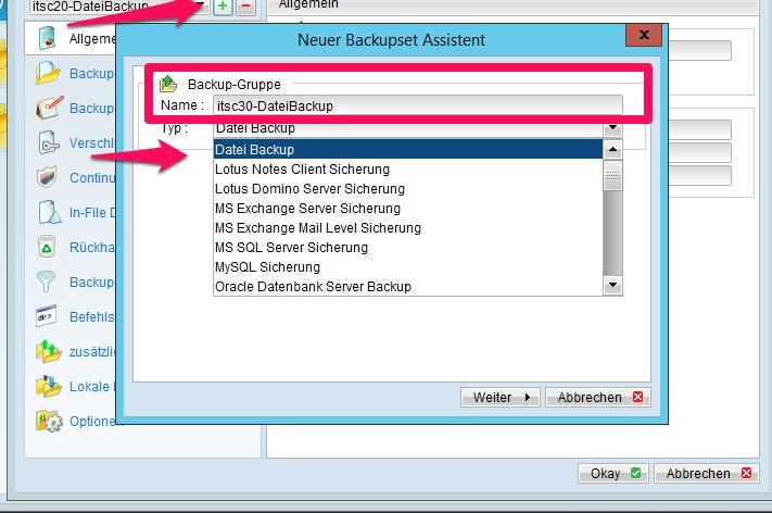 Einrichten der Online-Backup Software